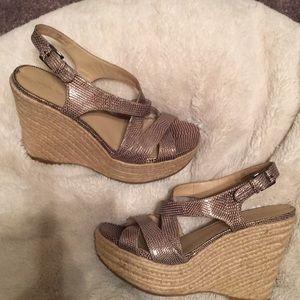 Stunning Via Spiga Strappy Leather Wedge Sandal